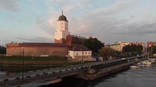 Выборгский замок на закате  / Аэросъемка 4K