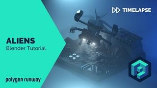 Aliens Dropship - Blender 2.8 Low Poly 3D Modeling Timelapse Tutorial