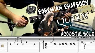 Queen - Bohemian Rhapsody (Acoustic Solo) / Guitar Tutorial + TABS