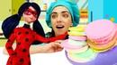 Видео для детей игры в готовку с куклой Леди Баг! Готовлю игрушкам с пластилином Плей До Макаронс!