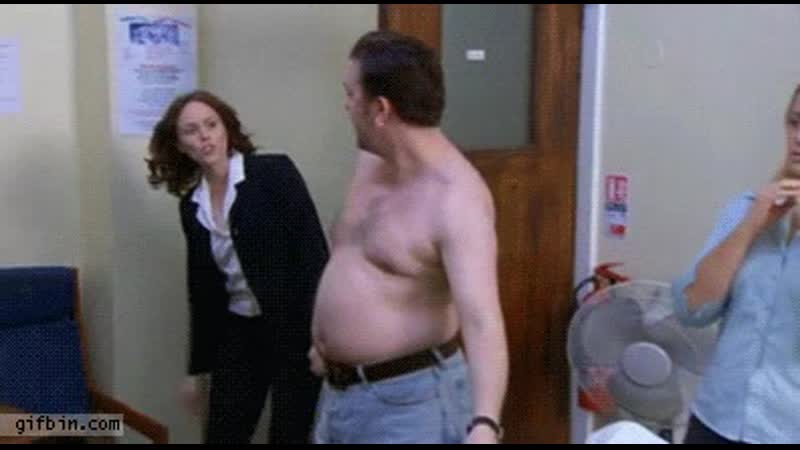 Ricky Gervais belly pull - The Office