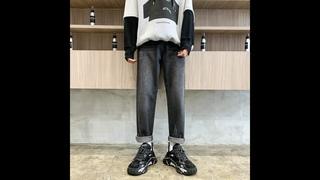 Корейские прямые джинсы, мужские модные повседневные ретро синие черные джинсы, мужские брюки, уличная одежда, свободные