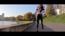 Cute Belarus model walking in red high heels and leggings