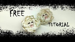 free tutorial flower peony cat panther, demon, devil, fairy spirit, jewellery, fantasy, polymer clay
