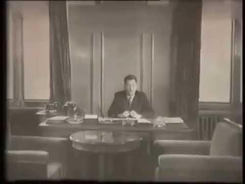 Дінмұхамед Қонаев Бельгия телевидениесінде қазақша сөйлеп отыр (EXPO 1958 ж.)