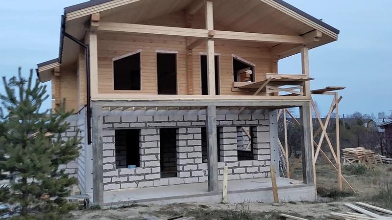 Комбинированный дом (газобетон брус) - Стройка в Ганино