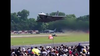 F-22 raptor AMAZING vertical take-off!! RIAT 2016