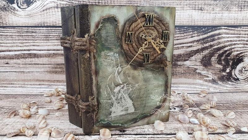 Decoupage Książka zegar Clock book DIY tutorial...