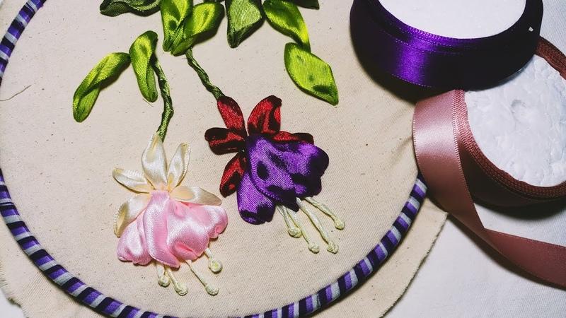 Hand Embroidery Fuchsia | Ribbon Embroidery Design | Hướng dẫn thêu hoa lồng đèn | MAYA