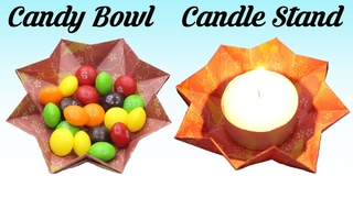 Easter DIY - How to make Candy Bowl, Candle Stand, Easy Basic Simple Origami Paper Crafts DIY Ideas