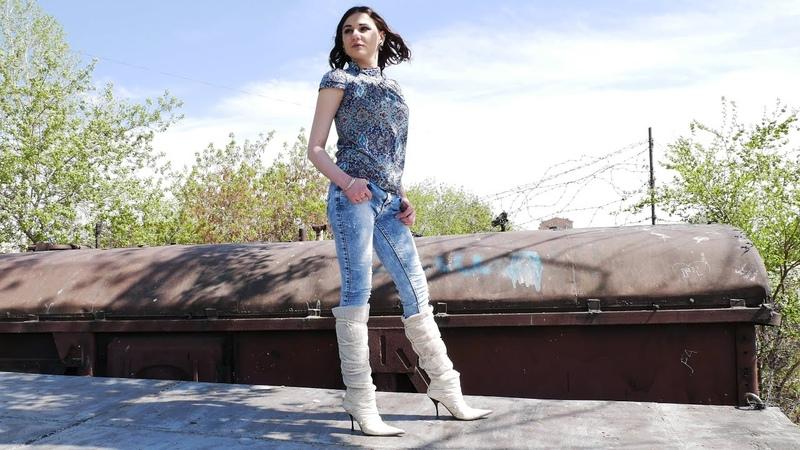Christina shoots Masha in pointed toe high heels Gianmarco Lorenzi sheepskin boots Size EU 37 US 7