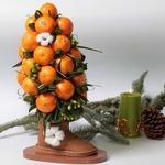 Новогоднее дерево из мандаринов в валенке — мастер-класс