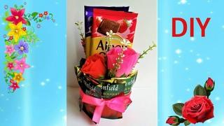 DIY Супер подарок женщине на 8 марта, цветы, чай и шоколад.