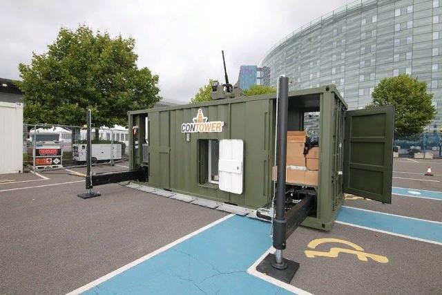 Компания Leonardo представила на выставке Eurosatory 2018 вышку, встроенную в стандартный контейнер ISO 20. На крыше вышки, высота которой может достигать высоты 7,8 м, установлен модуль вооружения Hitrole Light