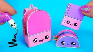 DIY Miniature KAWAII School Supplies ~ Backpack, Pencil Case, Pen, Notebook REALLY WORKS!