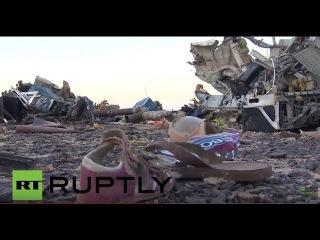 Египет: Российские следователи аварии прибыл в полете месте крушения на Синае.