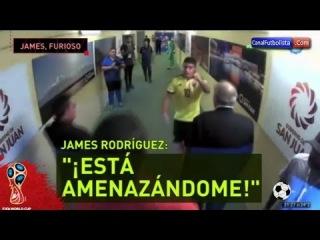 James Rodriguez furioso durante el partido entre Argentina y Colombia (3-0)
