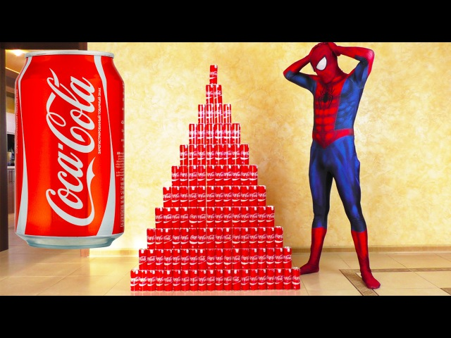 Spiderman and Coca-Colla CHALLENGE w/ Spiderman and MASHA AND THE BEAR SUPERHEROES IRL