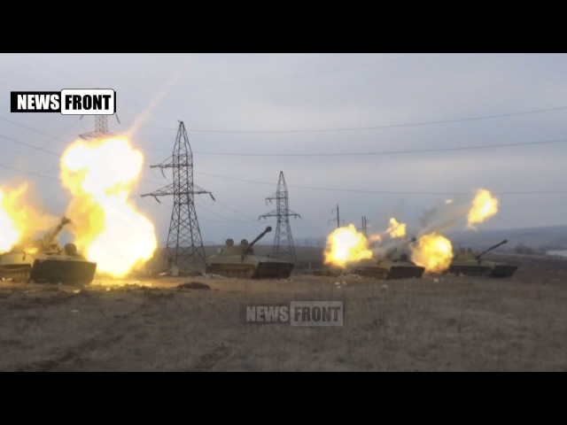 Работа Градов и САУ по подавлению точек огневой активности ВСУ в Дебальцевском котле