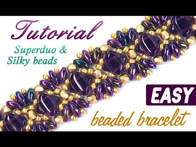 Tutorial Beaded bracelet Princess Superduo Silky beads Браслет Принцесса из бисера Супердуо