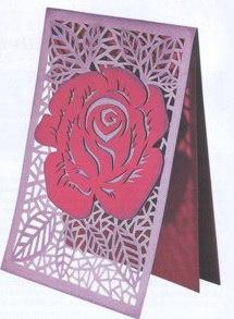 Открытка с резной розой