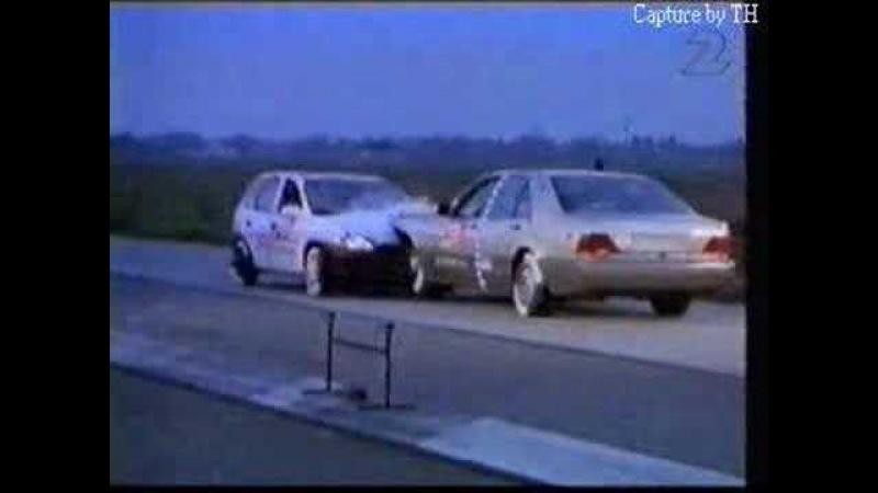 Crash Test MB Clase S w140 vs Opel Corsa