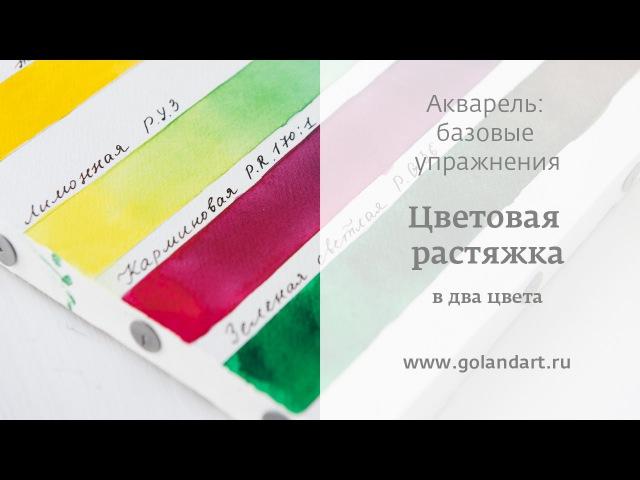 Акварель базовые упражнения Цветовая растяжка в два цвета Урок 3