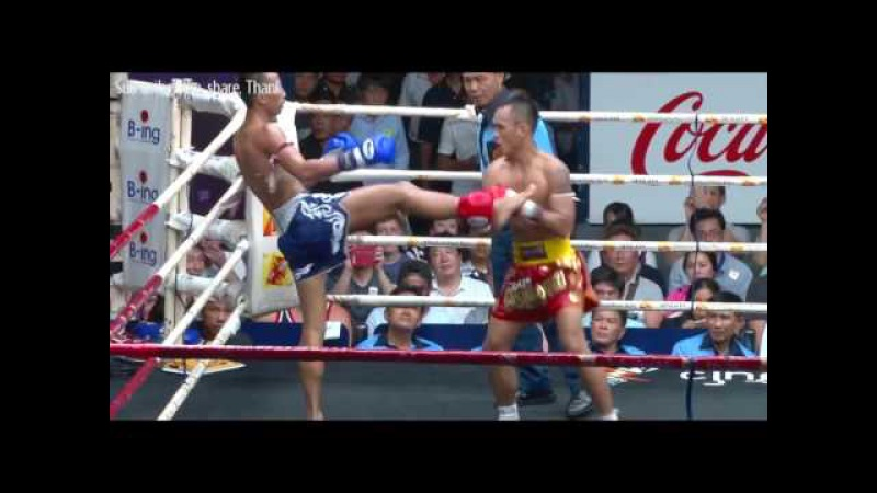 Muay Thai Fight, Thai martial art warrior, Traditional boxing, Wanchalong vs Kaokarat, 2 May 16