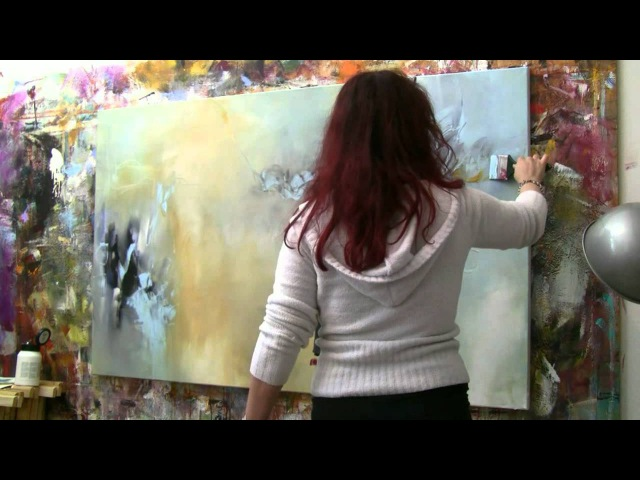 Abstract acrylic painting Demo Abstrakte Malerei Windgeflüster by Zacher Finet
