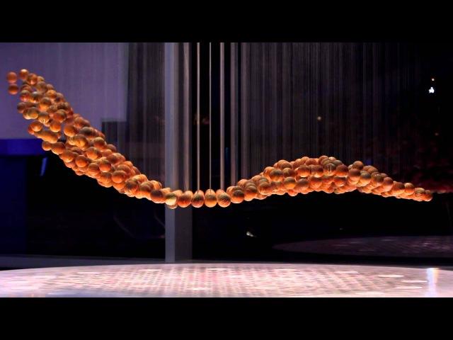 Breaking Wave kinetic sculpture located in the Biogen Idec lobby
