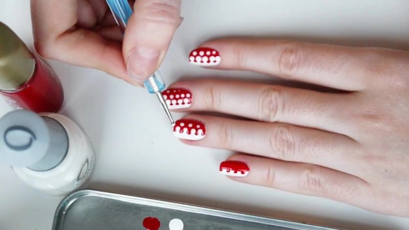 Маникюр с дотсом В горошек - Polka dots nail art