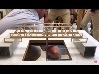Испытания деревянных моделей мостов   Test models of wooden bridges
