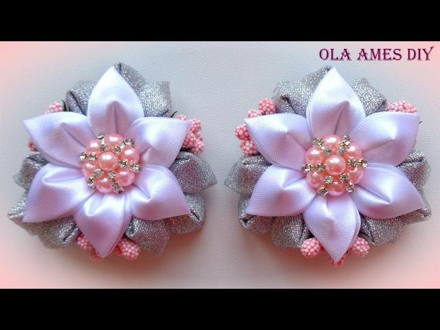Цветы канзаши из ленты Kanzashi Flower tutorial Flores de fitas Ola ameS DIY