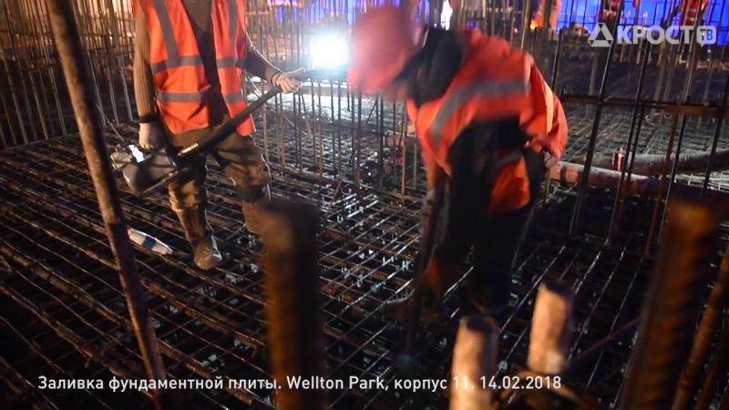 Заливка фундаментной плиты на котловане Wellton Towers (14.02.2018)