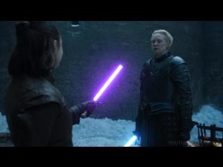Arya vs brienne lightsaber duel _ game of thrones star wars