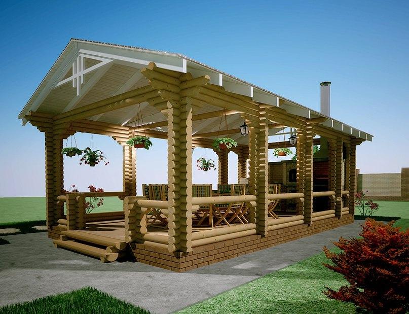 Летняя кухня из бревна для дачи: функциональное сооружение, изображение №10