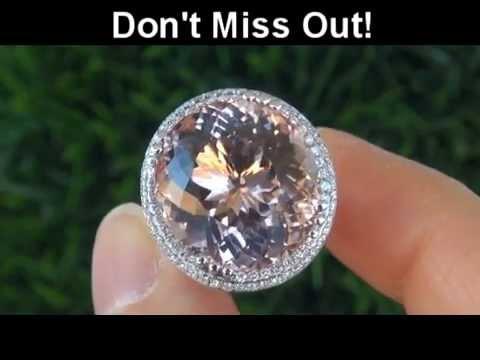 VIRTUALLY FLAWLESS 24 05 Carat Pink Morganite Diamond Ring