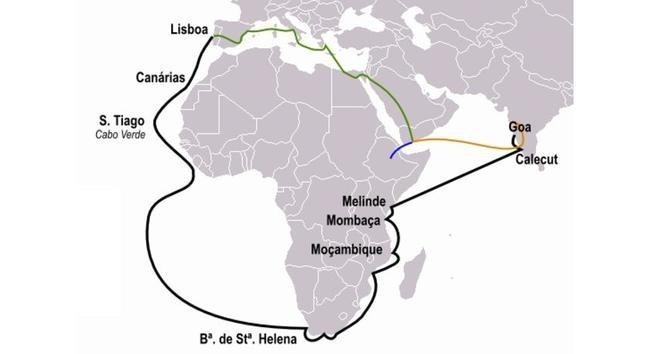 Путь торговцев пряностями из Португалии в Индию (зелёная линия) и маршруты Васко да Гама (чёрная), Перу да Ковильяна (оранжевая) и Афонсу ди Пайва (синяя)