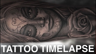 TATTOO TIMELAPSE | DAY OF THE DEAD AND ROSE PORTRAIT | REAL TIME | CHRISSY LEE