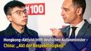 China äußerst unzufrieden Hongkong Aktivist Joshua Wong trifft in Berlin Außenminister Heiko Maas