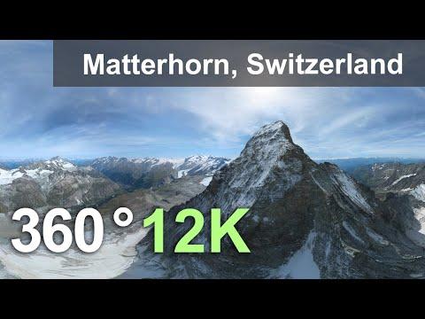 Matterhorn Mountain Alps Switzerland Aerial 360 video in 12K