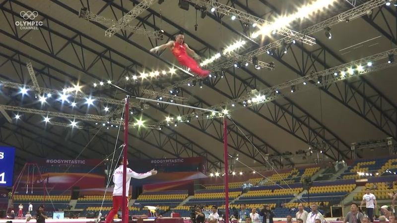 Xiao Ruoteng on high bar during training at the 2018 World Gymnastics Championships