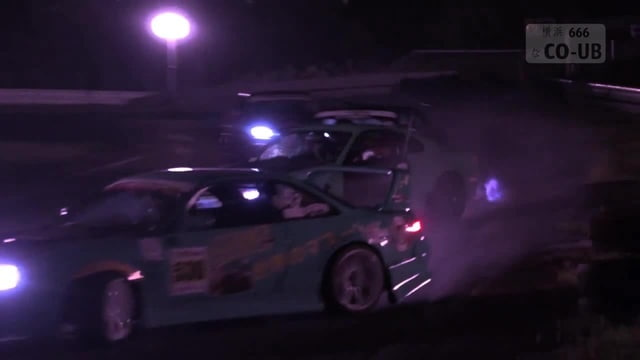 Night drift competition at Sports Land Yamanashi