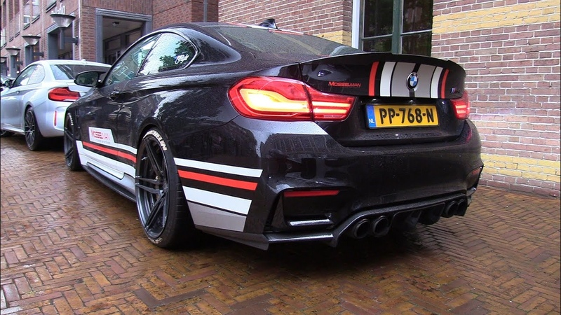 BMW M4 F82 MOSSELMAN Turbo Akrapovic Exhaust Start Revs Flames Accelerations