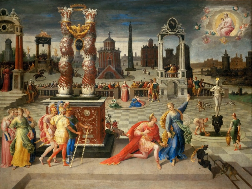 Antoine Caron (1521 — 1599) — Император Август и Тибуртинская сивилла, ок.1580