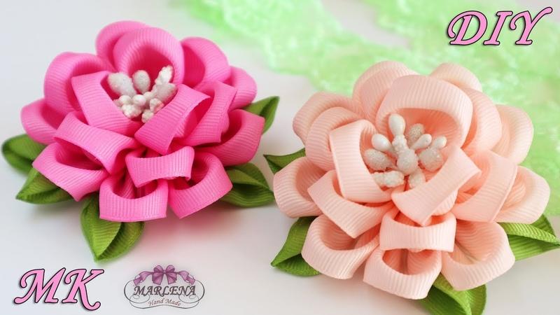 🌺 Цветы из репсовых лент Зажимы для волос Канзаши МК DIY