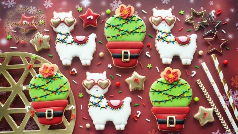 How to decorate CUTE CHRISTMAS LLAMA FESTIVE CACTUS Cookies
