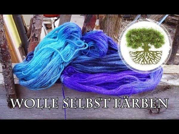Wolle färben bunter Strang