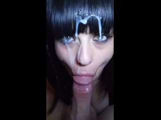 Massive facial for sexy babe