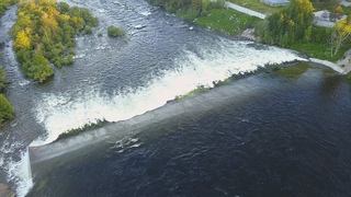 Aerial Landscapes of the Niva River flowing through the Town of Kandalaksha
